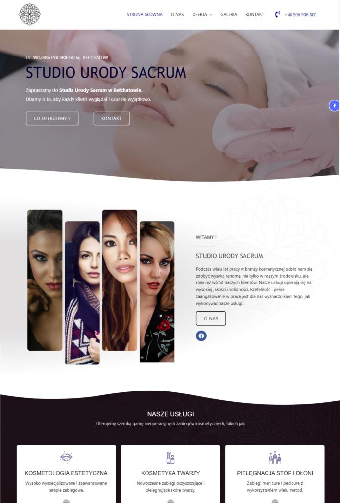 strona internetowa dla studia kosmetycznego